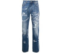 Jeans mit Handschrift-Print