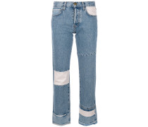 Cropped-Jeans im Patchwork-Stil