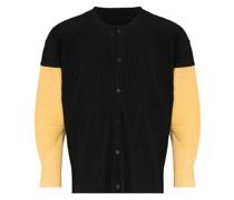 Plissierte Hemdjacke in Colour-Block-Optik