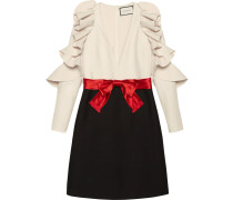 Silk wool dress with sculpted sleeves