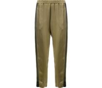 contrast side stripe cropped trousers - women