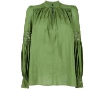 Plissierte Bluse mit Schnürung - women