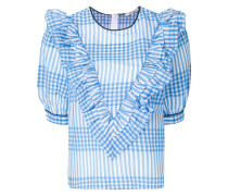 checked ruffle top