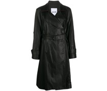 leather-finished trench coat