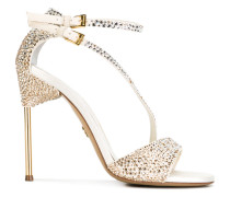 appliquéd sandals with asymmetric straps