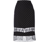 star embroidered lace panel skirt