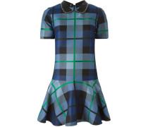 Kariertes Kleid mit benietetem Kragen