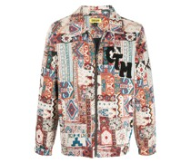 Patchwork-Hemdjacke mit Tapisserie-Muster