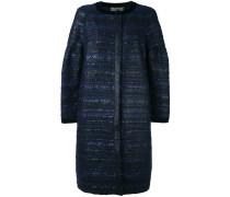 Tweed-Mantel mit Rundhalsausschnitt - women