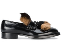 black fur tassel loafers