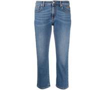 Cropped-Jeans mit Kristallen