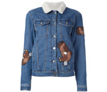 Jeansjacke mit Adler-Patches - women