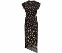 Gerafftes Kleid mit Blumen-Print