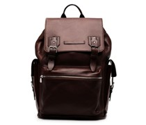 buckle-fastened leather backpack