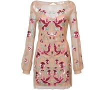 Besticktes Kleid mit semi-transparentem Design