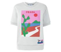 cactus print short sleeve sweatshirt