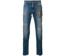 Jeans mit Biene-Stickerei