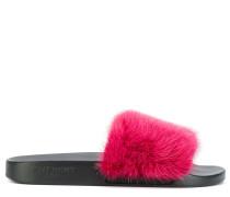 fur-lined slider sandals
