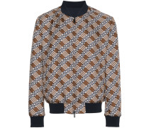 logo print reversible silk bomber jacket