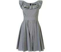 Kariertes Kleid mit gerüschtem Kragen