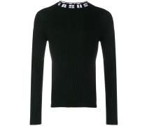 Gerippter Pullover mit Logo-Print