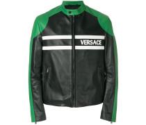 logo print leather jacket