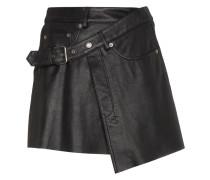 Mini Wrap Leather Skirt
