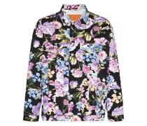 Jeansjacke mit Blumen-Print