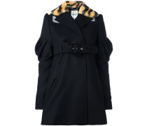 piped logo double breasted coat