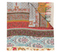 multi-print embroidered scarf
