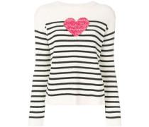 knit heart striped sweater