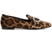 Samt-Loafer mit Leoparden-Print
