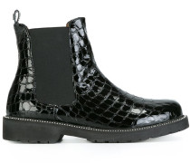 Chelsea-Boots mit eingeprägter Krokodilleder-Optik