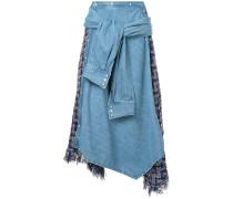 Drapierter Rock mit Jeanseinsatz