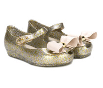 bow-embellished glitter ballerina shoes