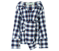 checkered waist tie shirt