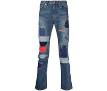 Schmale Patchwork-Jeans