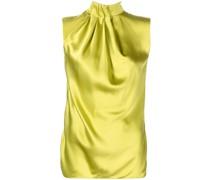 draped-neck silk blouse