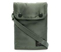logo-patch metallic messenger bag
