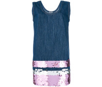 sequin-embellished denim mini dress