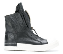 creased-effect sneaker boots