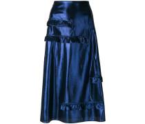 ruffle detail lamé skirt