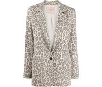 Einreihiger Blazer mit Leoparden-Print