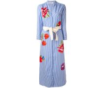 Gestreiftes Kleid mit Blumen-Stickerei - women