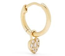 18kt yellow  diamond single heart hoop earring