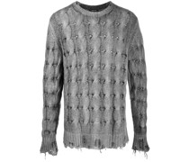 Distressed-Pullover mit Zopfmuster