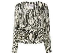 zebra-print ruffled blouse