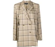 buttoned-vent double breasted check blazer