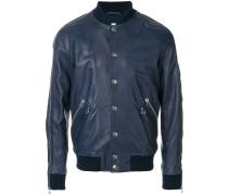 zip leather bomber jacket