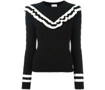 Gerüschter Pullover mit Zopfmuster - women